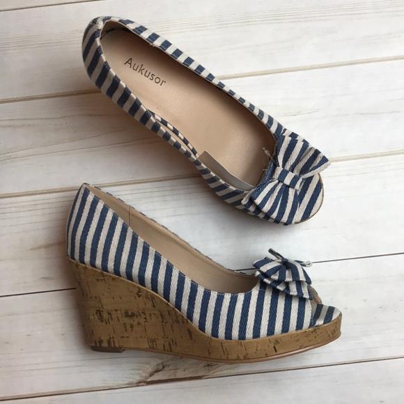 Aukusor Blue Stripe Bow Open Toe Wedge